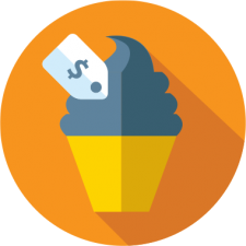 graphic icon of ice cream with pricetag to depict expanding event opportunities with school registration software