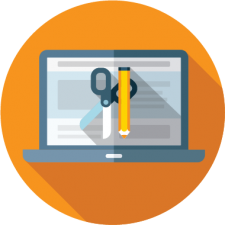 Graphic icon to depict catalog and content management for online registration