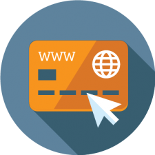 graphic icon of credit card depicting online payments for activity registration software