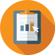 graphic icon of charts to depict recreation management software reporting feature