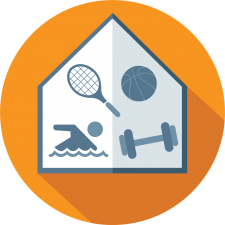 graphic icon depicting multiple sports for parks and recreation management software