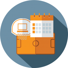 graphic icon depicting a recreation center for center management software