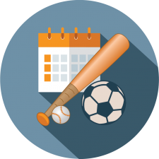 Graphic icon depicting Leagues, Divisions, Teams and Coaches for sports league registration software